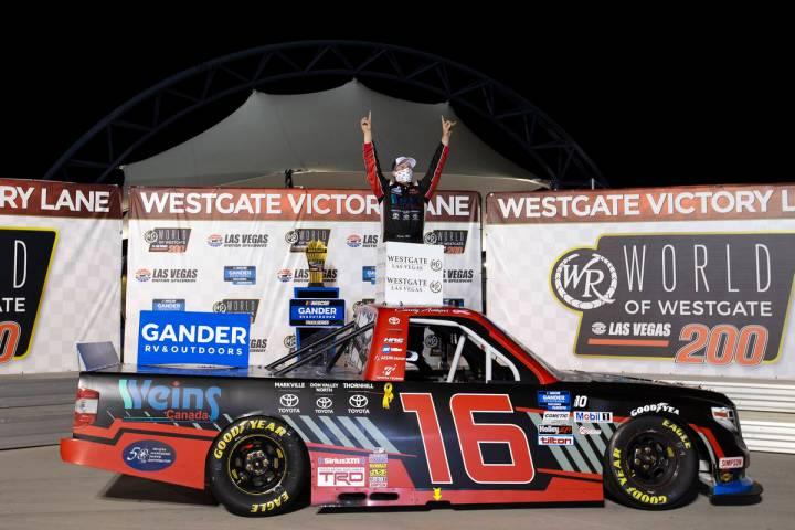 Austin Hill (16) wins the NASCAR Westgate 200 at Las Vegas Motor Speedway on Friday, Sept. 25, ...
