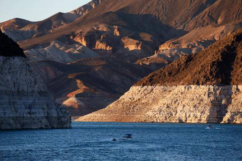 A bathtub ring of light minerals shows the high water line near Hoover Dam on Lake Mead at the ...