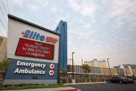 A sign advertises COVID-19 testing at Elite Medical Center on Friday, Sept. 18, 2020, in Las Ve ...