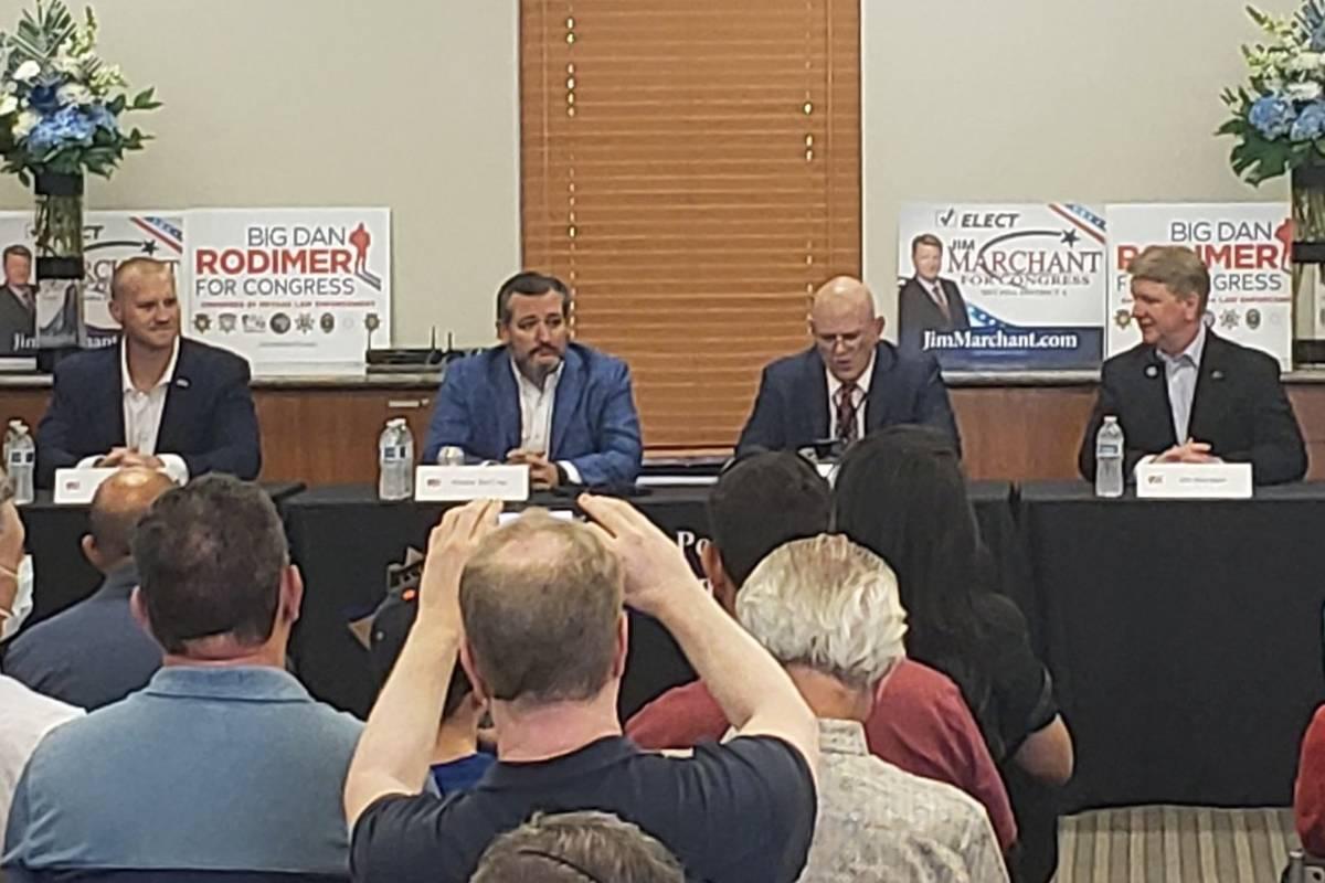 Sen. Ted Cruz, R-Texas, center, campaigns in Las Vegas on Saturday with Republican congressiona ...