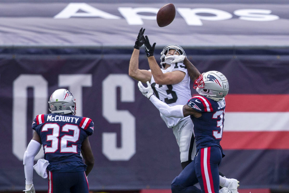 Las Vegas Raiders wide receiver Hunter Renfrow (13) prepares to catch the football as New Engla ...