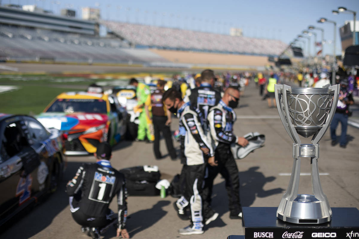 The Cup is displayed beforea NASCAR Cup Series auto race begins on Sunday, Sept. 27, 2020 ...