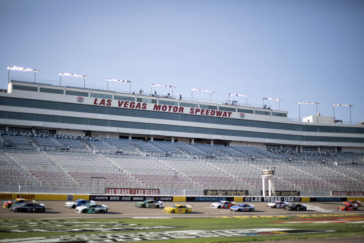 Drivers round the track duringa NASCAR Cup Series auto race on Sunday, Sept. 27, 20 ...