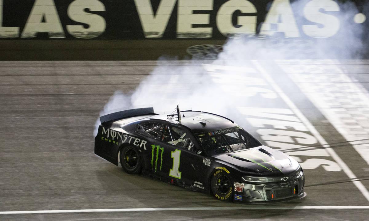 Kurt Busch (1), of Las Vegas, wins the South Point 400 during the NASCAR Xfinity Series auto ra ...