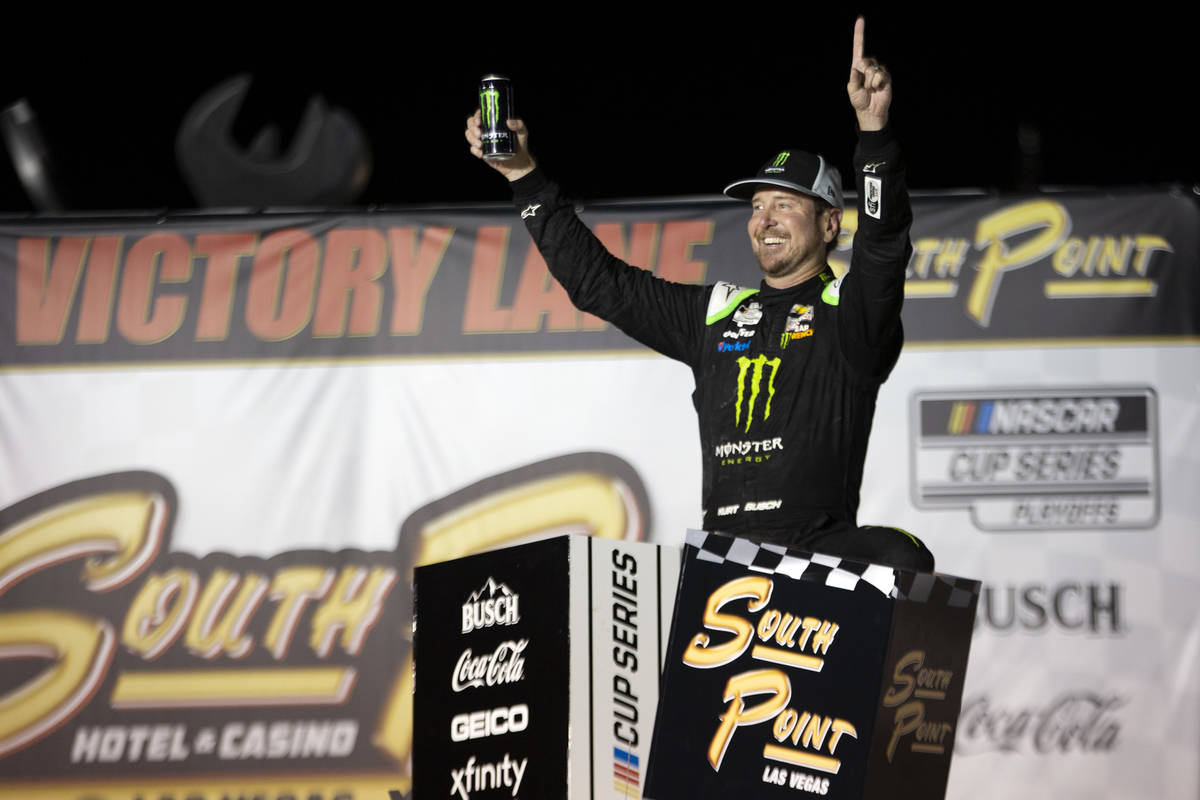 Kurt Busch (1), of Las Vegas, celebrates in Victory Lane after winning the South Point 400 duri ...