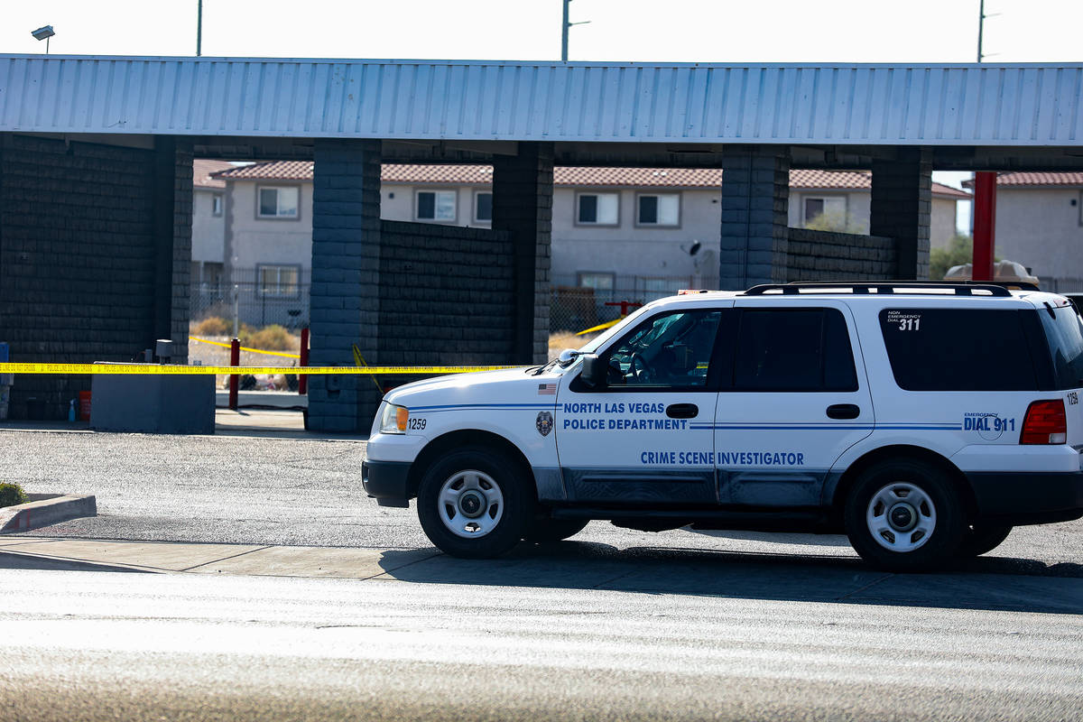The scene of a homicide where a man was fatally shot Sunday morning at a car wash in North Las ...
