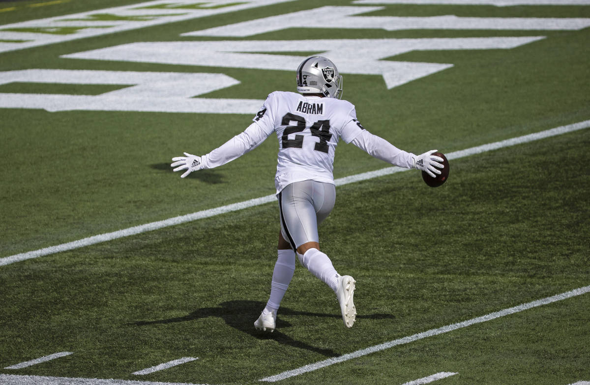 Las Vegas Raiders strong safety Johnathan Abram (24) celebrates after intercepting a pass in th ...