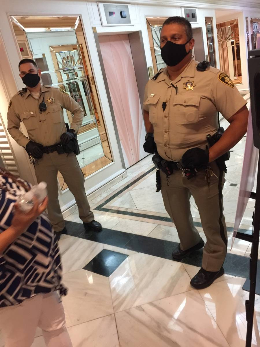 Las Vegas police secure an area during a lockdown inside the Flamingo on Monday, Sept. 28, 2020 ...
