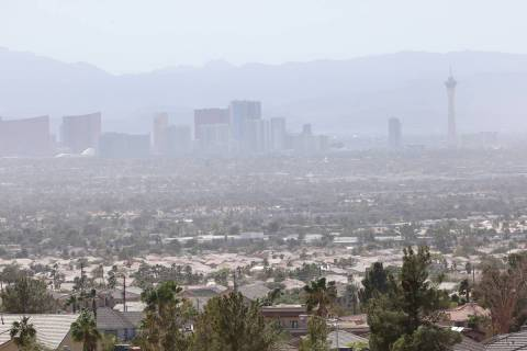 The Strip is seen during heavy smoke in Las Vegas, Tuesday, Sept. 8, 2020. Winds coming from th ...