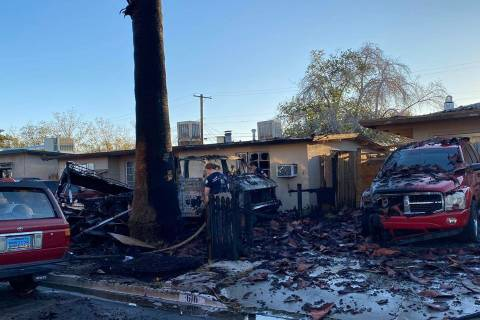 A fire in a recreation vehicle also damaged two homes and another vehicle near West Decatur Bou ...
