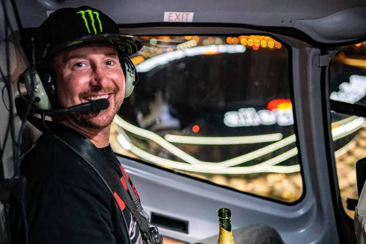 NASCAR Cup Series driver and Las Vegas native Kurt Busch celebrated winning the South Point 400 ...