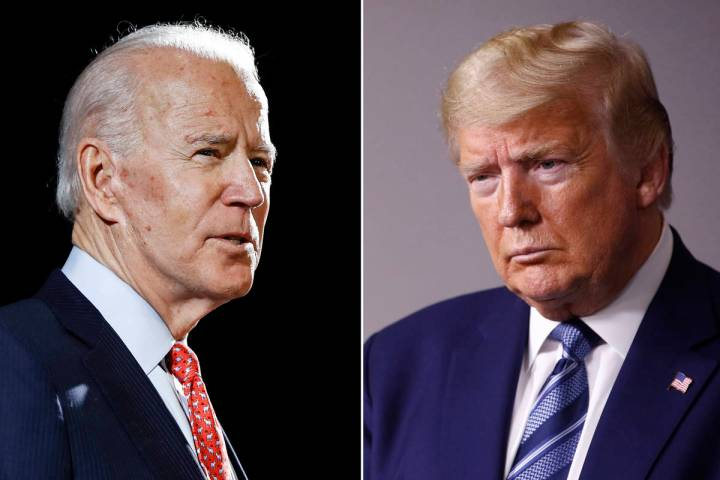 In this combination of file photos, former Vice President Joe Biden, left, speaks in Wilmington ...