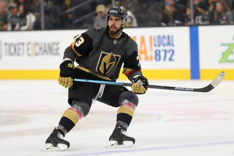 Vegas Golden Knights center Brandon Pirri (73) waits for a pass against the Nashville Predators ...