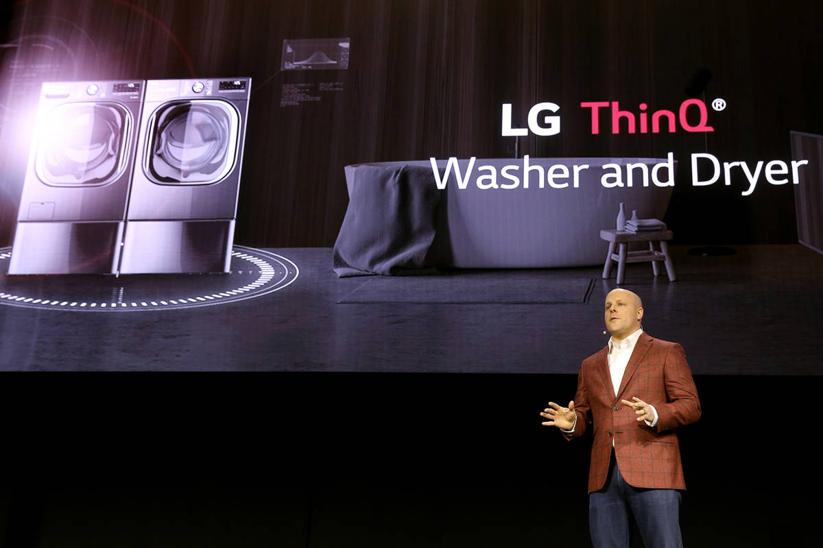Brandt Varner, head of product management, home appliance for LG, Electronics, unveils the LG T ...