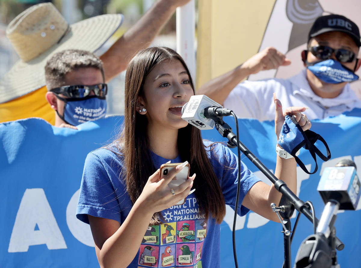 Emily Hernandez, 16, of Las Vegas, during a press conference at Lloyd George U.S. Courthouse in ...