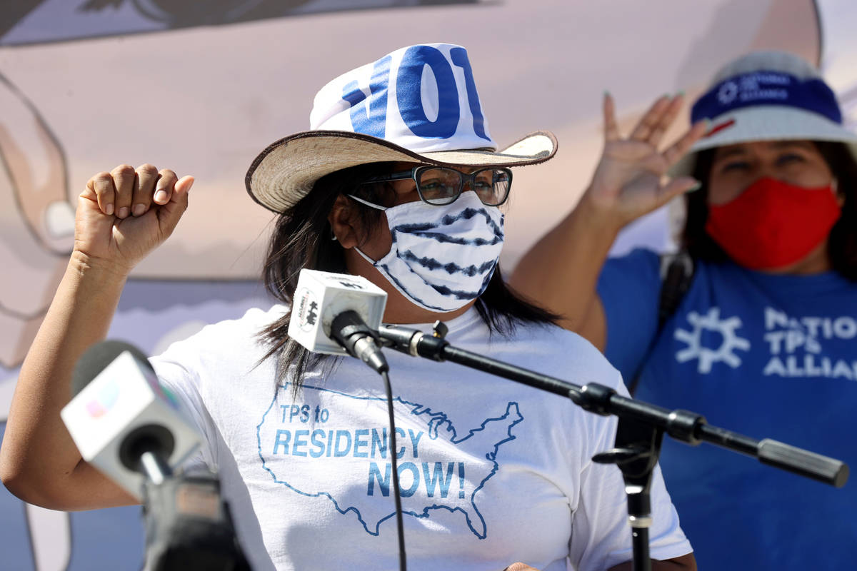 Claudia Lainez of Oakland during a press conference at Lloyd George U.S. Courthouse in downtown ...