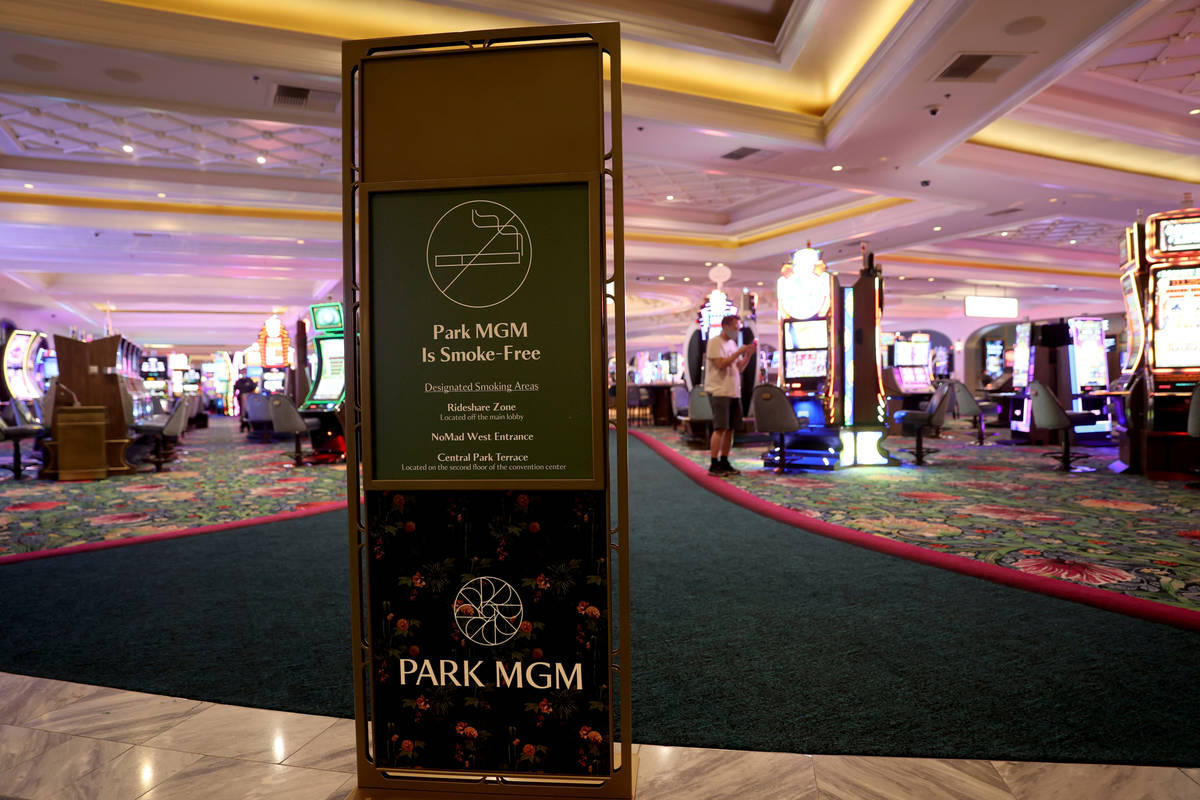 A sign informs guests about the new smoke-free policy as Park MGM reopens after the coronavirus ...