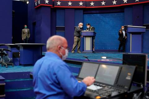Preparations take place for the first presidential debate in the Sheila and Eric Samson Pavilio ...