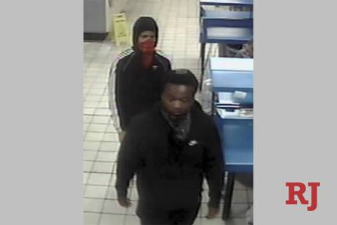 Two of the three suspects wanted in a string of southeast Las Vegas Valley armed robberies are ...