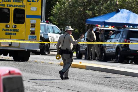 The Metropolitan Police Department is investigating Tuesday, Sept. 29, 2020, in Las Vegas. (Biz ...