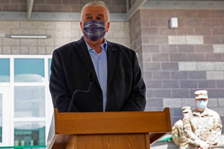 Gov. Steve Sisolak addresses the audience at a ribbon cutting ceremony for the Speedway Readine ...