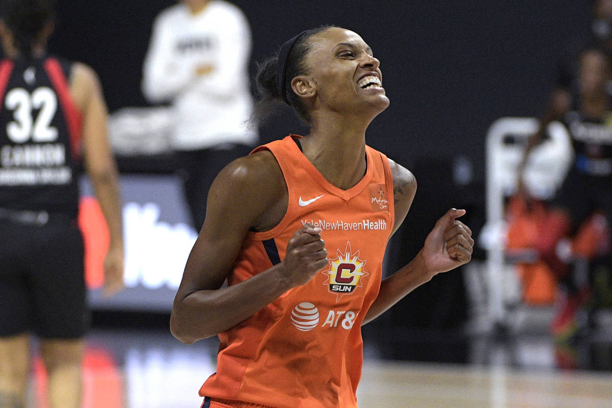 Connecticut Sun forward DeWanna Bonner reacts after a shot during the first half of Game 5 of a ...