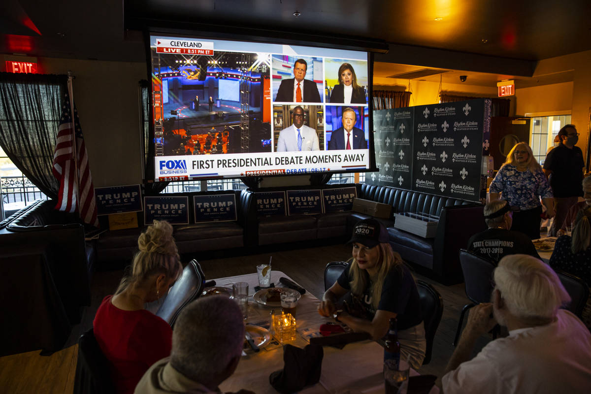 Supporters of President Donald Trump gather before the start of a debate watch party at Rhythm ...