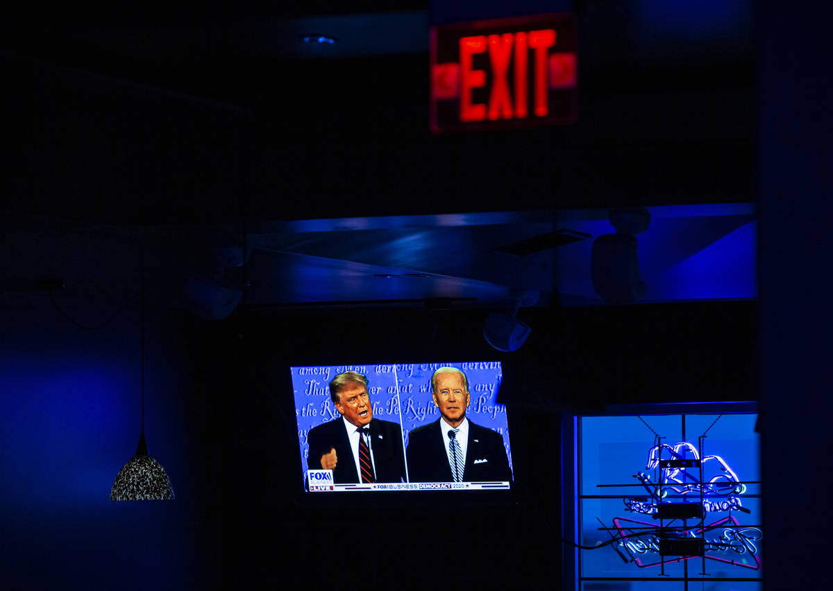 A view of President Donald Trump and Democratic presidential nominee Joe Biden during a debate ...