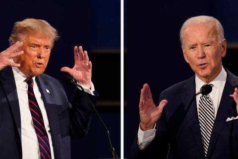 In this combination image of two photos showing both President Donald Trump, left, and former V ...