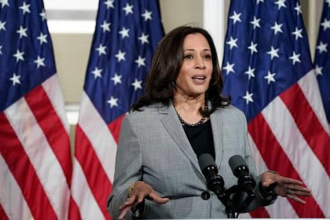 Democratic vice presidential candidate Sen. Kamala Harris, D-Calif., speaks at Shaw University ...