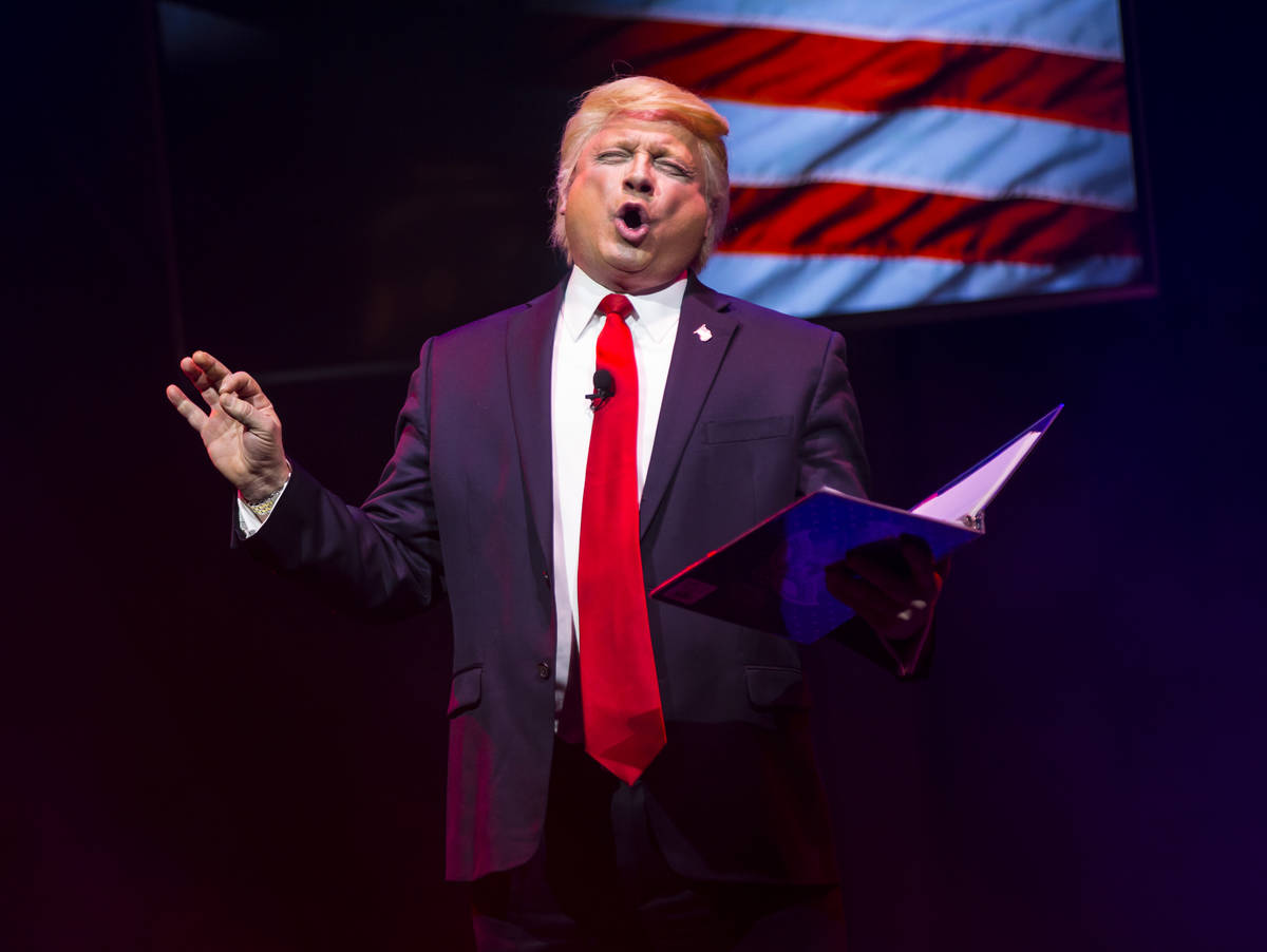 "John Di Domenico performs as President Donald Trump during a dress rehearsal of ""Ester Gol ..."