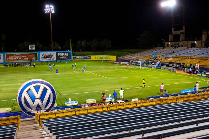 Las Vegas Lights FC play Reno 1868 FC with empty seats and no fans during the second half of a ...