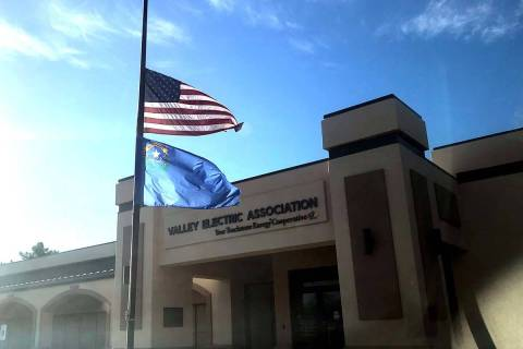 Flags fly at half-staff in Pahrump at Valley Electric Association Inc. following mass shootings ...