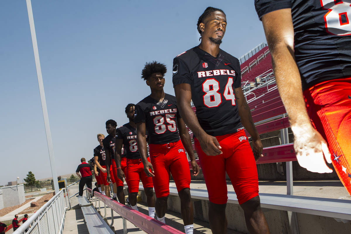 UNLV Rebels wide receiver Kendal Keys (84) lines up during UNLV football's photo day at Sam Boy ...