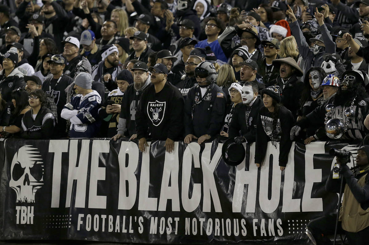 Fans watch from The Black Hole end zone at Oakland Alameda County Coliseum during the first hal ...