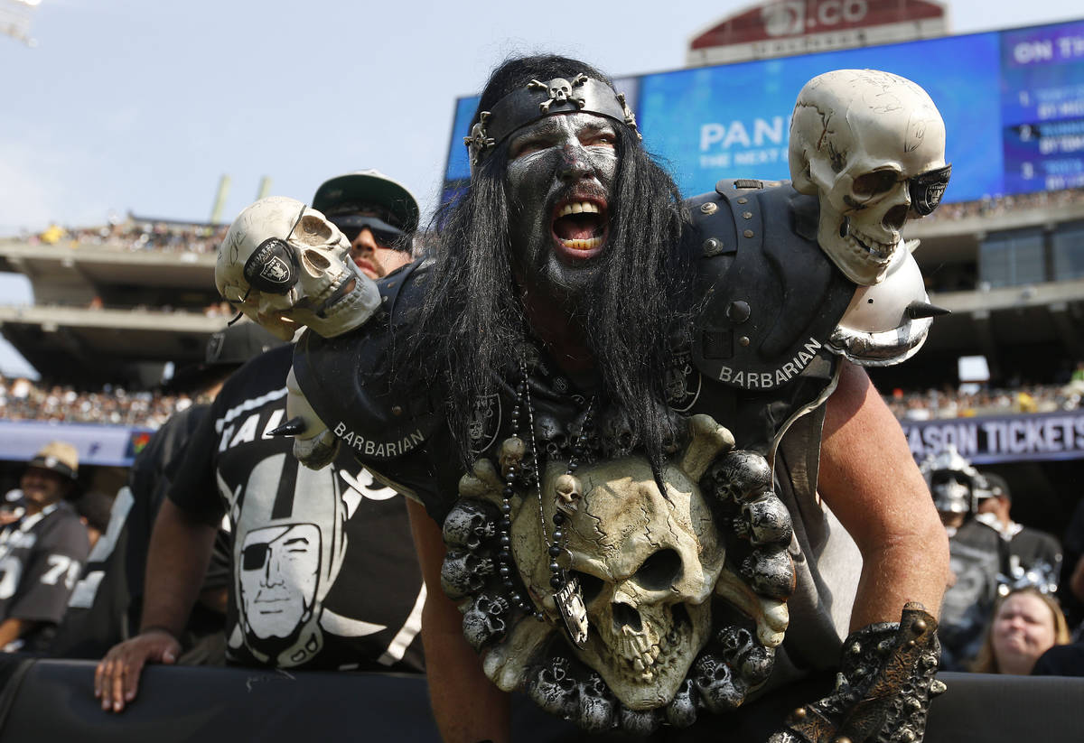 FILE - In this Sept. 13, 2015, file photo, Oakland Raiders fans watch during the second half of ...