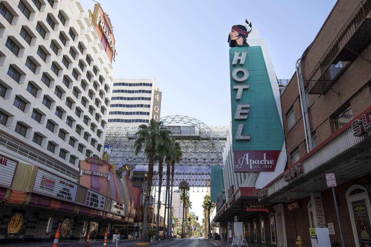 Hotel Apache in downtown Las Vegas on Tuesday, Sept. 29, 2020. (Ellen Schmidt/Las Vegas Review- ...