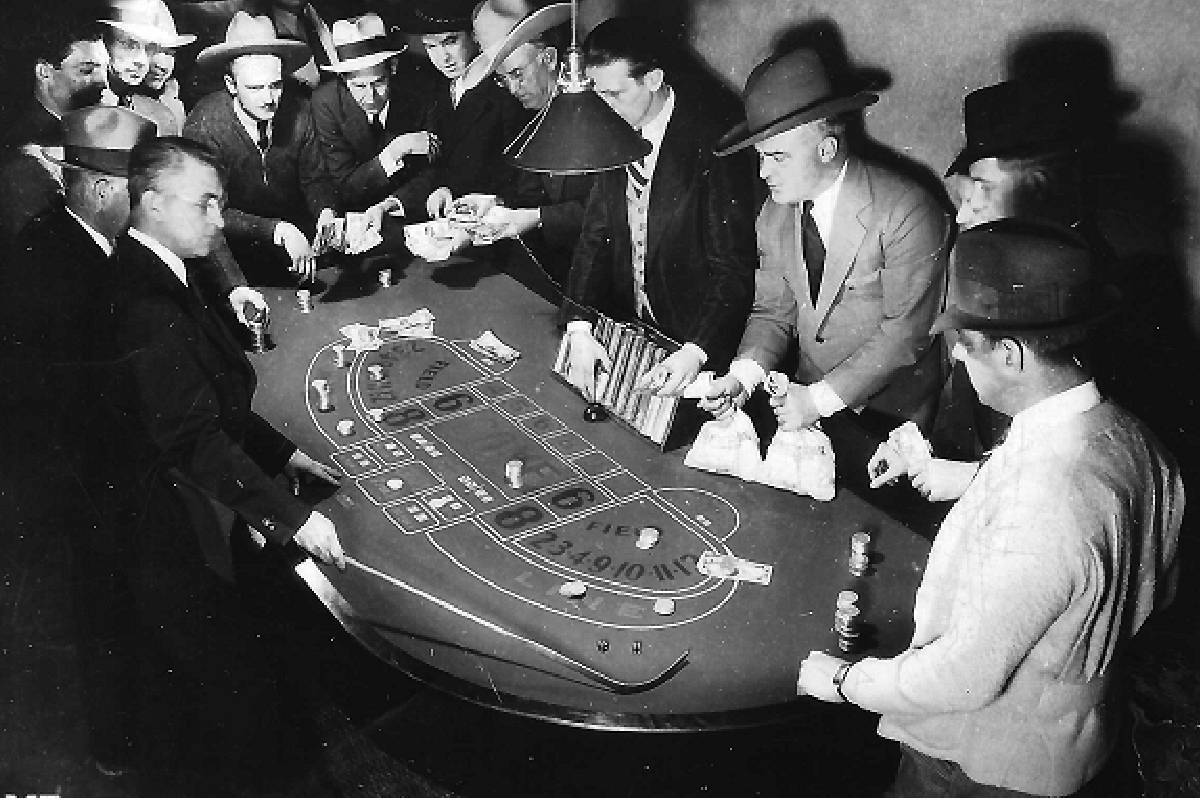 A craps game at Apache Hotel shortly after it opened. (Courtesy, Robert Stoldal Collection.)