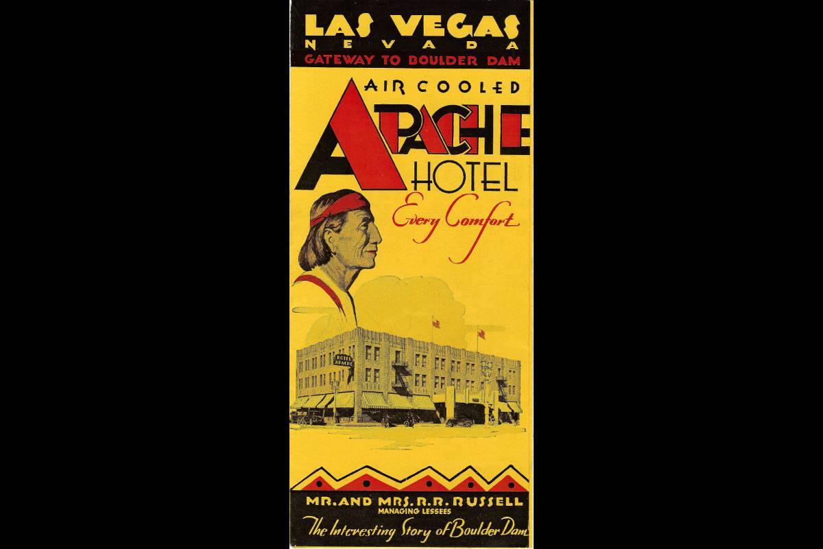 """The front of a brochure for the Apache hotel, advertising """"every comfort."""" (Courtesy, Robert St ..."""