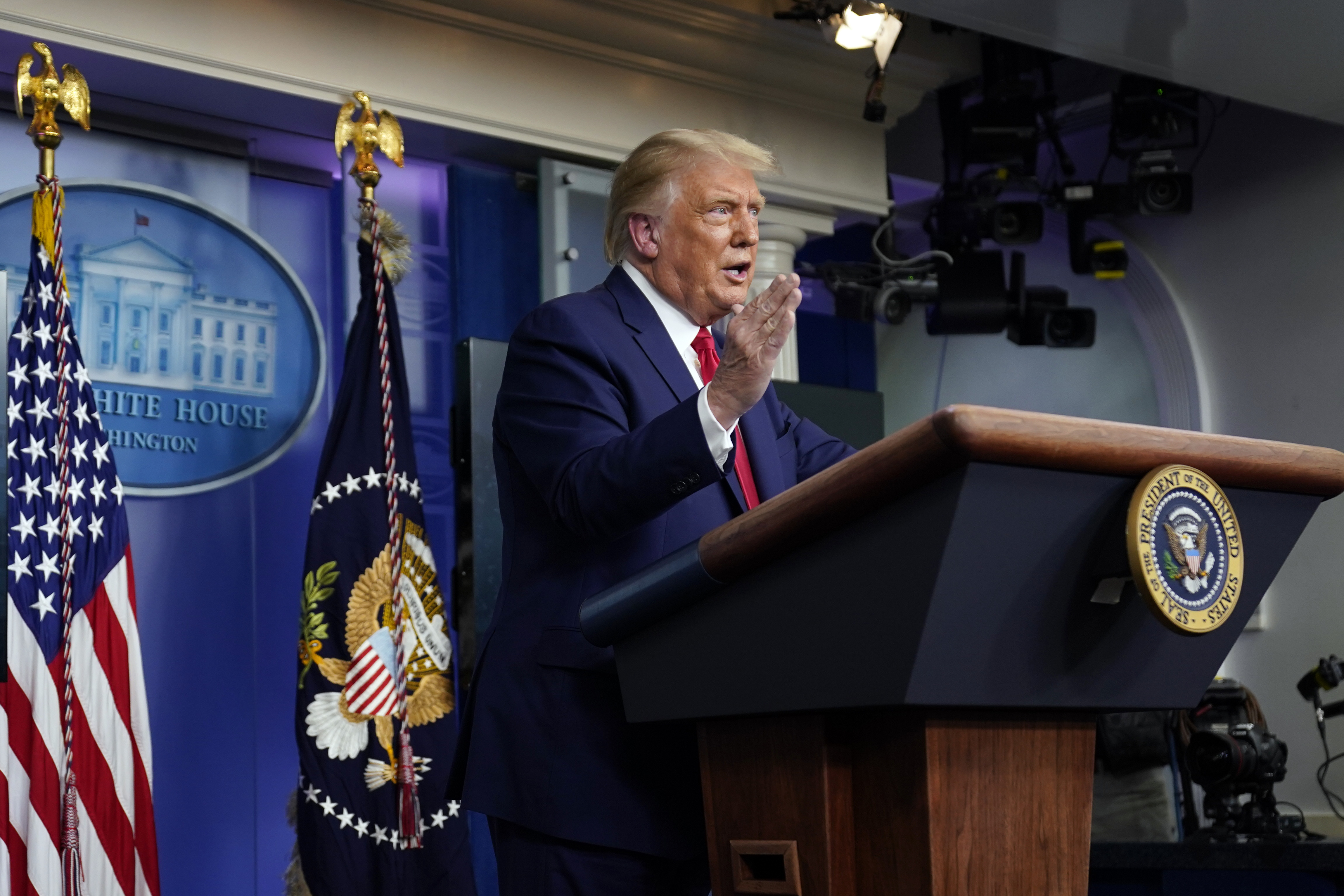 President Donald Trump speaks during a news conference at the White House, Wednesday, Sept. 16, ...