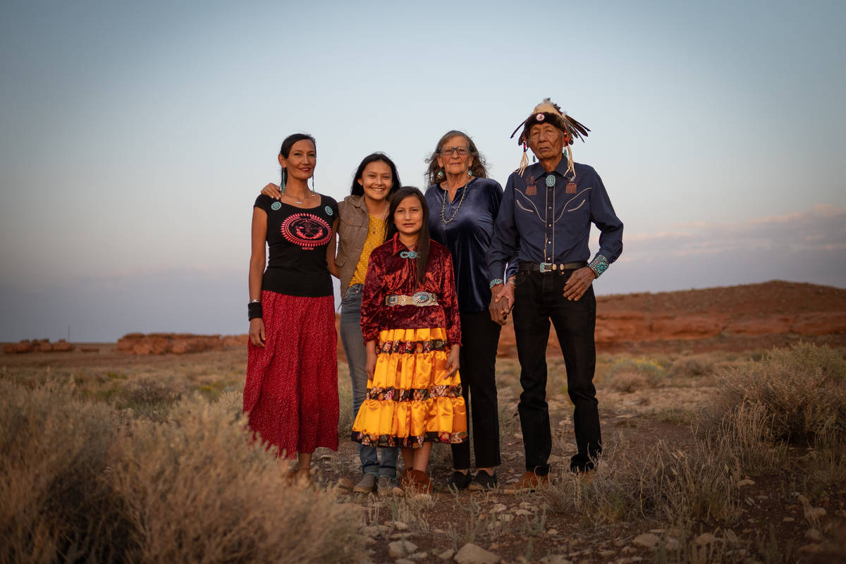 The Benally family, who practice traditional Navajo medicine, pose on the Navajo reservation on ...