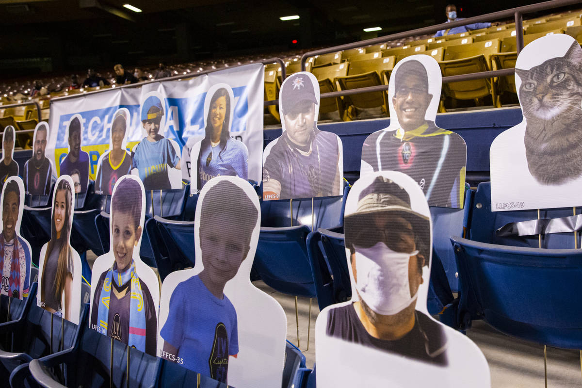 Cardboard cutouts of fans are seen during the second half of a USL soccer game against Reno 186 ...