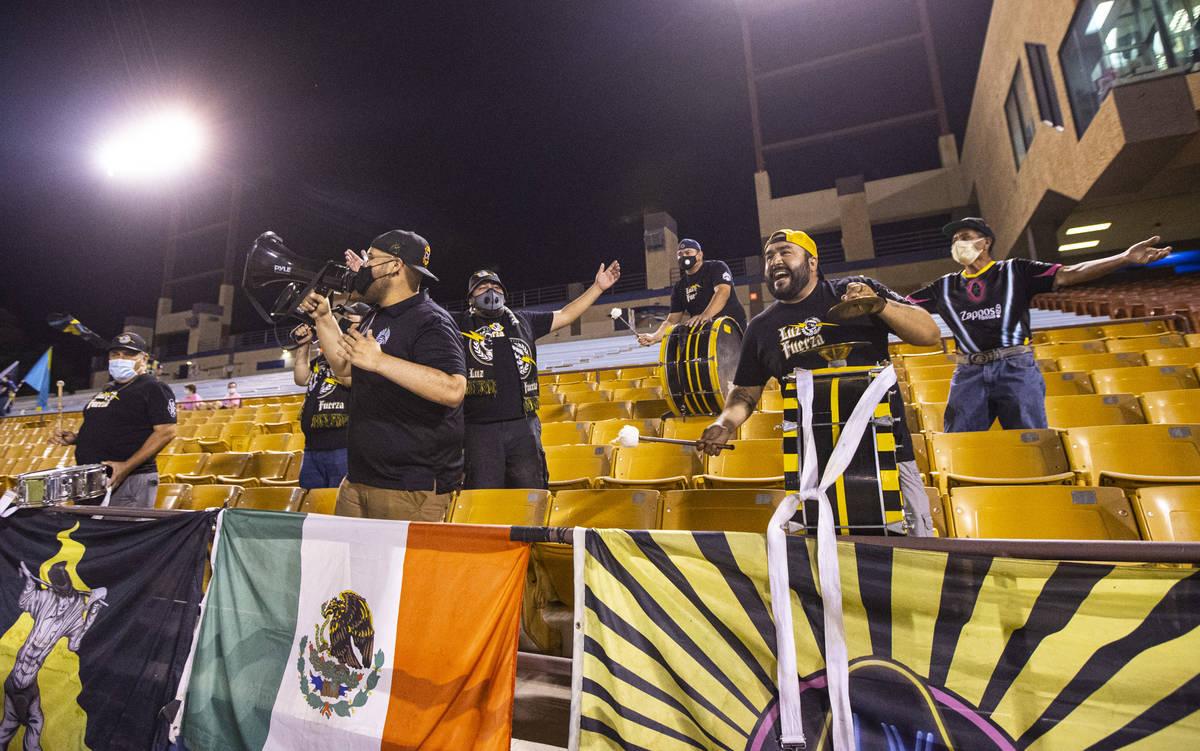 Las Vegas Lights FC fans cheer at the start of a USL Championship soccer game against Orange Co ...