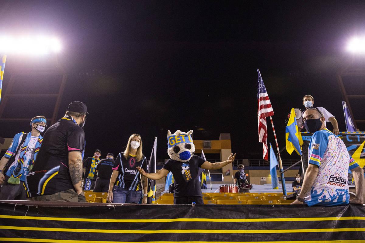 Las Vegas Lights FC gather before the start of a USL Championship soccer game against Orange Co ...