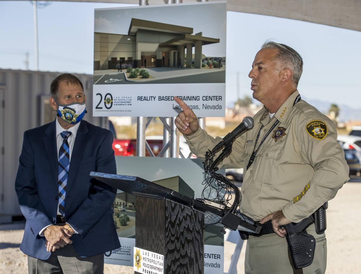 Sheriff Joseph Lombardo, right, thanks Greg Korte of The Korte Company for his construction exp ...