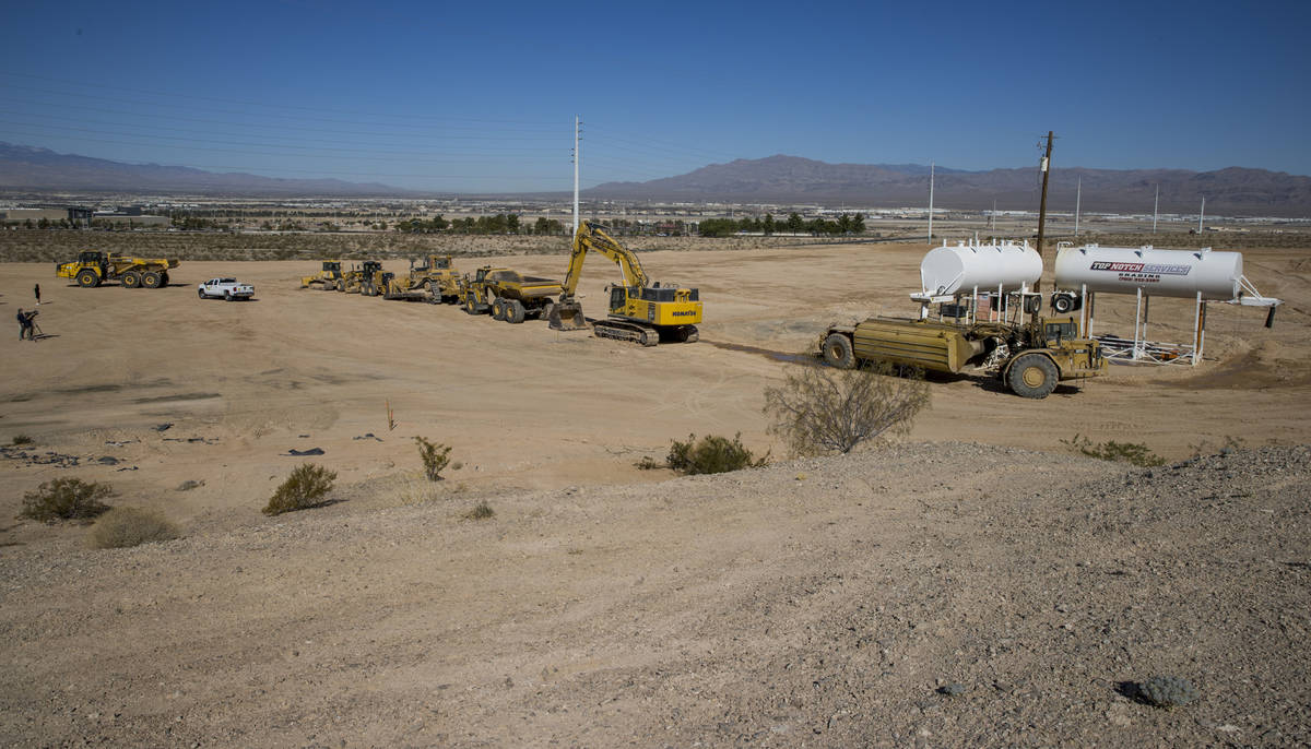 Construction area and vehicles lined up on the new site of the Las Vegas Metropolitan Police De ...