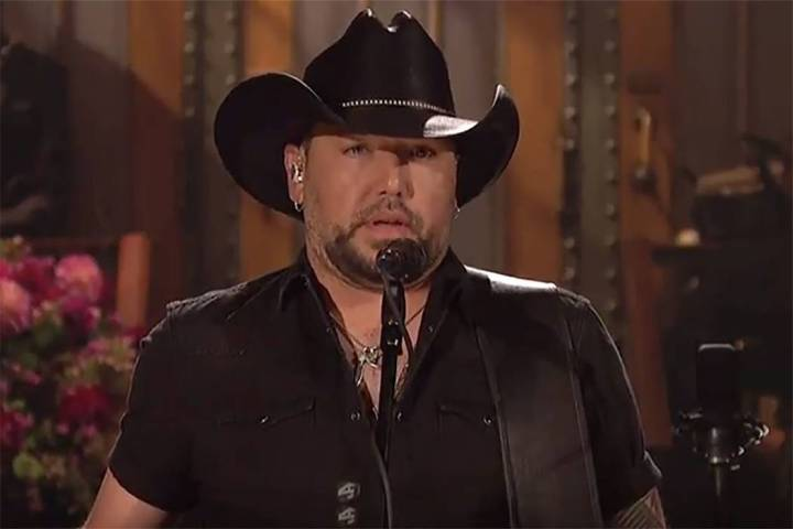 """Jason Aldean speaks during """"Saturday Night Live"""" on Saturday. (screengrab from """" ..."""