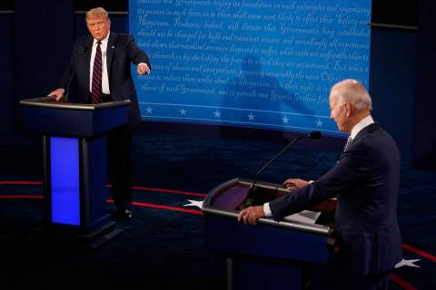 President Donald Trump and Democratic presidential candidate former Vice President Joe Biden ex ...