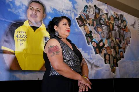 Angelica Cervantes, mother of Erick Silva, a security guard who was shot trying to help people ...