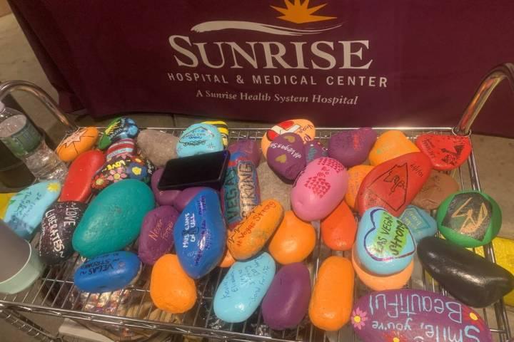 A memorial rock garden is seen at Sunrise Hospital and Medical Center. (Sabrina Schnur/Las Vega ...
